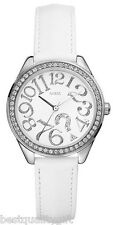 NEW GUESS WHITE LEATHER STRAP WITH CRYSTALS LOGO WATCH-G75960L