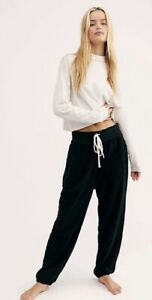 Free People Sweatpant Slouch It Jogger Relaxed Oversized Fuzzy Soft Black S NWT