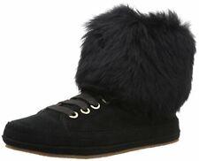 UGG Women's Antoine Fur Fashion Sneaker, Black, 5 M US