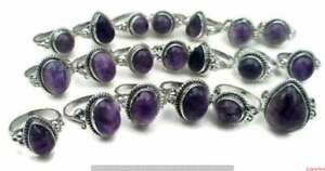 Amethyst Gemstone 925 Sterling Silver Plated 5pcs Wholesale Lot Rings BW-778