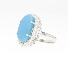 PRE-OWNED TURQUOISE & DIAMOND CLUSTER RING