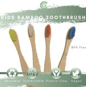 Kids Children's Bamboo Toothbrush 4 Pack Multi-Coloured Vegan Same Day Dispatch!