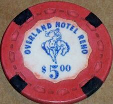 New listing Old $5 Overland Casino Poker Chip Vintage Antique Small Crown Mold Reno Nv 1962