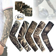 Men Tattoo Cooling Arm Sleeves Cover Uv Sun Protection Basketball Outdoor 6 Pcs
