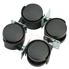 "Set of 4pcs 1"" Swivel Plate Caster Nylon Wheel Chair Table Replacement Black"