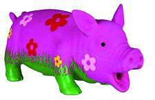 Schwein mit Blumen, Original-Tierstimme, Latex, 20 cm