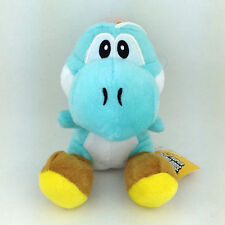 Super Mario Bros Cyan Light Blue Yoshi Plush Soft Toy Species Yellow Shoe 6""