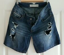 Ladies size 11 Button Fly Ripped denim shorts -Just Jeans