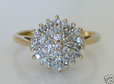 Beautiful 9ct Gold 0.50ct Diamond Cluster Ring Size R