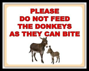 PLEASE DO NOT FEED THE DONKEYS AS THEY CAN BITE METAL PLAQUE TIN GATE SIGN 1441