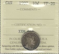 1907 Ten Cents ICCS Graded VF-20 ** HIGH Grade TONED King Edward VII Canada Dime