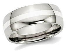 Mens 8mm Stainless Steel Comfort Fit Wedding Band