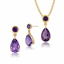 Gemondo 9ct Yellow Gold Amethyst Two Stone Drop Earrings & 45cm Necklace Set