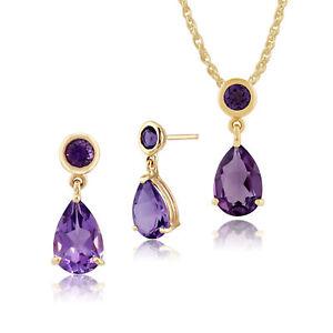 Gemondo 9ct Yellow Gold Amethyst Two Stone Drop Earrings & 45cm Necklace Set