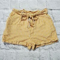 Women's Forever 21 Shorts Striped Yellow Sz M Linen Rayon