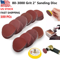 "100PCs 2"" Sanding Disc Sand Paper 80-3000 Grit Hook & Loop Sander Drill Adapter"