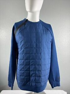 Nike Men's Sportswear Tech Quilted Crew Pullover Blue Black BV3697-407 Medium M