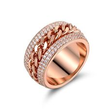 18K Gold Plated  Rose Gold and Swarovski Elements Link Ring