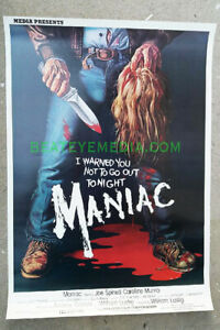MANIAC-MOVIE POSTER-HORROR,SAVINI,MONSTER,SERIAL KILLER,gore-SLASHER-Joe Spinell