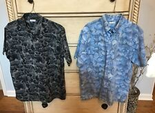 Lot Of 2 Columbia Offshore PFG Fish Print Artwork Button Front Shirt M Medium *