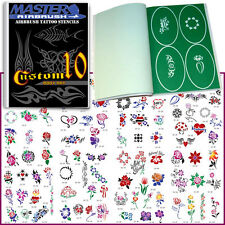 SET 10 BOOK 100 Reusable Airbrush Temporary Tattoo Stencil Art Designs Templates