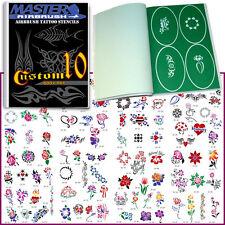 SET 10 BOOK 100 Reusable Airbrush Temporary Tattoo Stencil Art Designs Templates