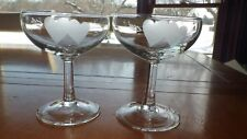 Hearts Champagne Glasses Coupes Double frosted heart design Wedding Toasting 2