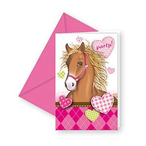 Pferde Motiv Einladungskarten mit Umschlag, 6 Stück Set Kinder Geburtstag