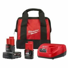 New Milwaukee 48-59-2402SP M12 3Ah & 1.5Ah battery and charger Starter Kit w/Bag