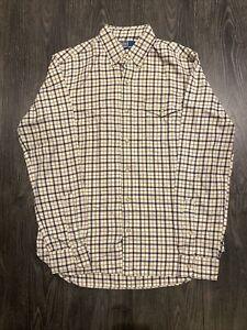 Vintage RALPH LAUREN Classic Fit Navy Biege Cream  90s Long Sleeve Shirt Size S