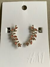 New H&M Pink Crystal Floral Flower Branch Earrings Silver