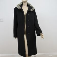 Cinzia Rocca Chinchilla Coat Black Virgin Wool Jacket Fur Trim Size 10 US 46 IT