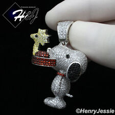MEN 925 STERLING SILVER FULL ICY DIAMOND 3D SNOOPY DOG CHARM PENDANT*SP267