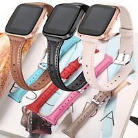 Fasion Slim Genuine Leather Watch Wrist Band Bracelet for Fitbit Versa Women man