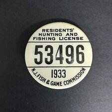 Vintage NJ Residents Hunting & Fishing License 1933 Great!