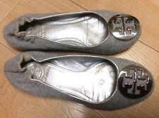 Tory Burch Reva Gray Felt Silver Leather Lining Silver Logo Ballet Flat Sz 5