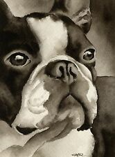 Boston Terrier Art Print Sepia Watercolor Painting by Artist DJR