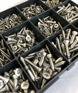 380 Assorted Stainless Steel Self Tappers Pozi Countersunk Self Tapping Screws