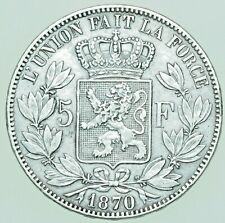 More details for belgium, leopold ii, 5 francs (5 frank), 1870 silver coin aef