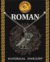 Roman Owl (24mm) Pendant - Pewter - with information card *[ROPPCH]