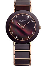 Bering Unisex 11435-765 Ceramic Brown Dial Rose Gold Stainless Steel Band Watch