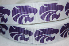 "Kansas State Wildcats  grosgrain ribbon 1"" wide  WHITE wildcats by the yard"