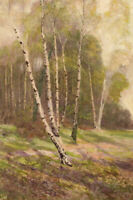 James Thomas Watts RCA, Silver Birch Woodland –19th-century watercolour painting