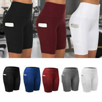 Womens High Waist Compression Yoga Shorts Pockets Push Up Gym Fitness Hot Pants