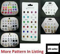 Fashion Rhinestone Crystal Pearl Earrings Set Women Ear Stud Jewelry 12 Pairs US