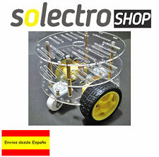 Chasis Robot Tortuga Smart Car 2WD coche 2 ruedas 3 placas Arduino DIY chassis