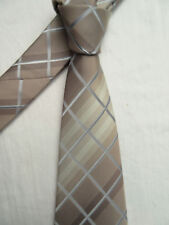 THOMAS NASH PADDED BEIGE CRISS CROSS 3.5 INCH POLYESTER NECK TIE