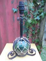 VINTAGE ORIGINAL GLASS BOUY / WROUGHT METAL TABLE LAMP   NOT WIRED .PROJECT