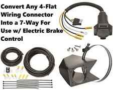 UNIVERSAL 4-FLAT TO 7-WAY WIRING CONVERTER KIT FOR USE W/ ELECTRIC BRAKE CONTROL