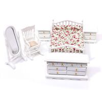 6x 1:12 Dollhouse Miniature White Wooden Bedroom Furnitureset Doll House YK